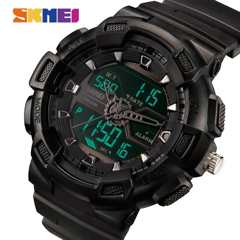 SKMEI Men Dual Display Watches Outdoor Quartz Sports Wristwatches Fashion Casual Multifunction 50M Waterproof Watch Boy
