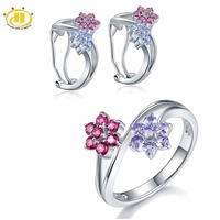 Hutang Bridal Jewelry Sets Natural Tanzanite Rhodolite Flower Earrings Ring Solid 925 Sterling Silver Gemstone Fine Jewelry Gift
