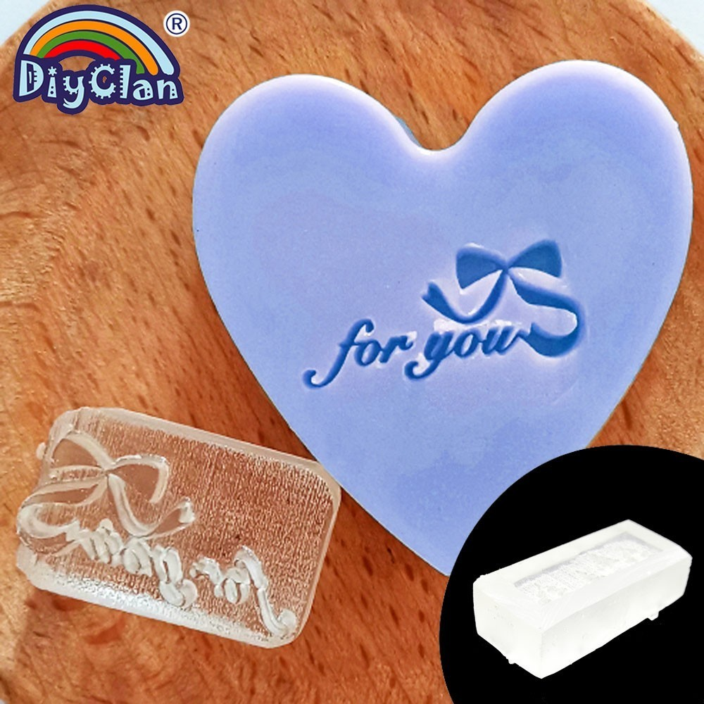 For You Handmade Soap Making Stamp Natural Clear Diy Natural Organic Glass Soap Making Chapter Bow knot Shape Resin Chapters0242 in Stamps from Home Garden