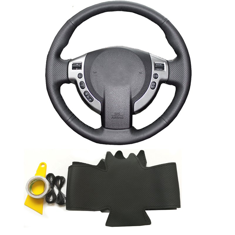 Genuine leather DIY braided hand sewing steering wheel cover car accessories for Nissan Qashqai J10 J11 X-Trail T31 NV200 Rogue