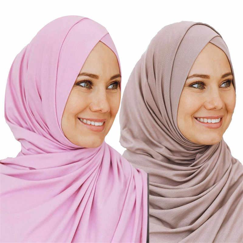2019 мусульманский трикотажный хиджаб-шарф для женщин femme musulman, готовый к ношению, шапка, исламский головной платок, тюрбан-шарф