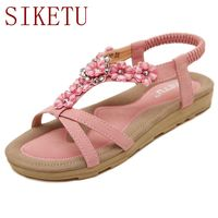 SIKETU Big Size 34 42 Bling Rhinestones Women Summer Style Shoes Bohemia Sandals Flat Heel Shoes