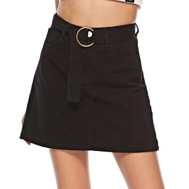 Black Denim Skirt High Waist A-line Mini Skirts Women 2018 Summer New Arrivals Pockets Jean Skirt Saia Jeans Women Skirt