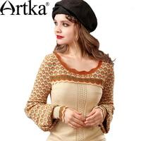ARTKA Winter Women's Wool Sweater Jacquard Knitted Sweater Female Lantern Sleeve Pullover Ruffle Sweater Women Knitwear Y015155Q