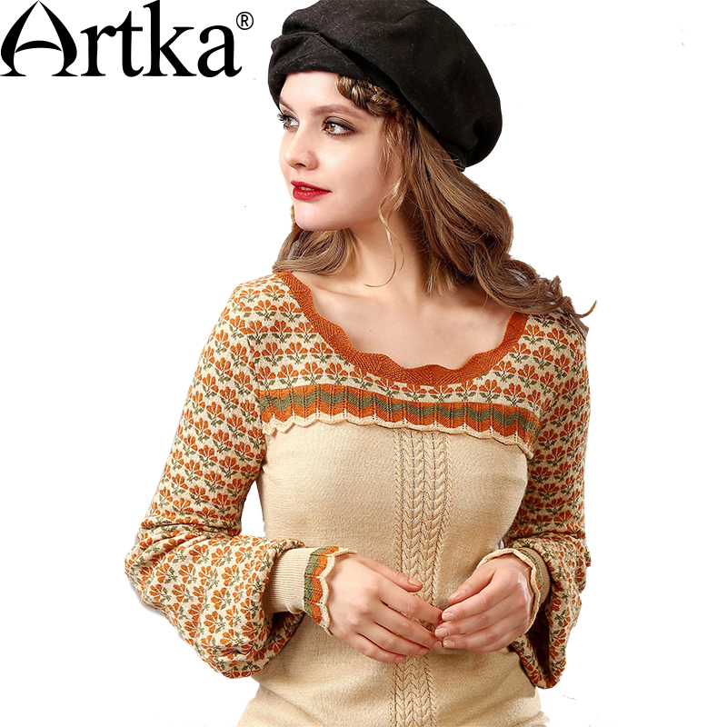 Artka Winter Women's Wool Sweater Jacquard Knitted Sweater Female Lantern Sleeve Pullover Ruffle Sweater Women Knitwear Y015155Q