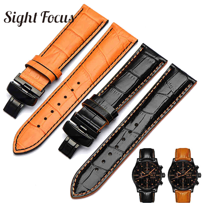 22mm 23mm Leather Watch Band for Mido Multifort M005 Series M005930 Strap Men Orange Bracelet Black Buckle Male Watchband Gents strap