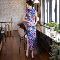 Long Silk Cheongsam Fashion Chinese Dress Women Modern Qipao Summer Vestido Oriental Tradition China Dresses Vintage Classic
