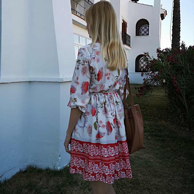 DeRuiLaDy 2019 New Boho Summer Dress Women V Neck Button Half Sleeve Floral Print Mini Dress Ladies Causal Beach Dresses Vestido in Dresses from Women 39 s Clothing