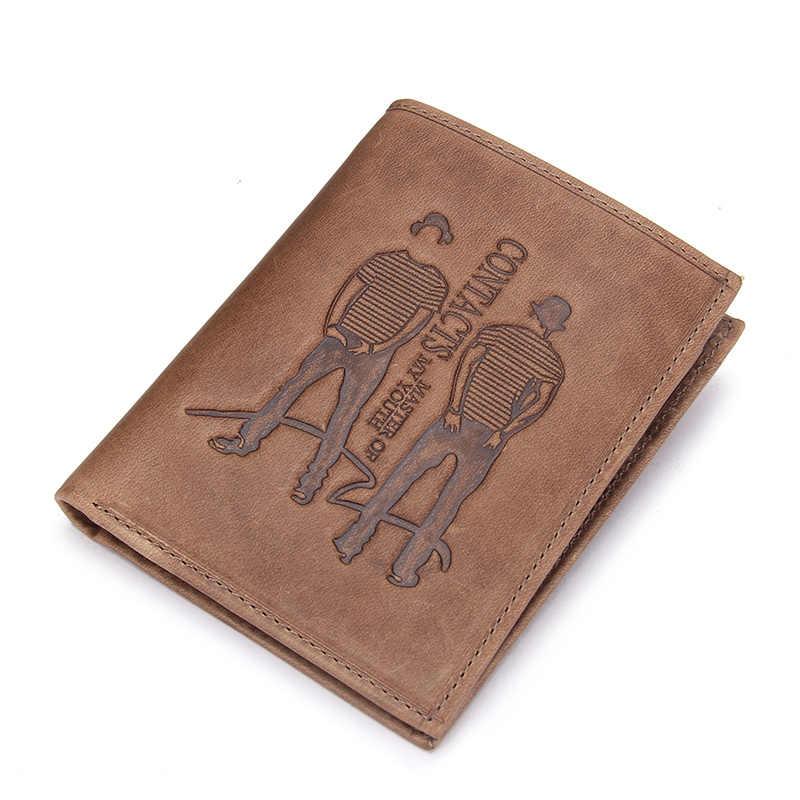 CONTACT'S мужчины кошельки Повседневная Кошелек для мужчин Натуральная кожа бумажник короткая мужская карты walet тонкий человека кошелек мужской держателей карт тонкий