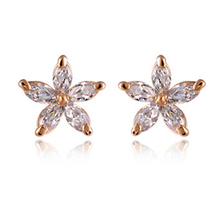 Colorful Crystals Star Gold Earrings  Gold color fashion Flower Stud Earring for Women Wedding Party Jewelry 987