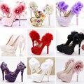 Кружева цветок свадебные туфли на платформе высокие каблуки сексуальные Сандалии женщин моды перл партии свадебные туфли
