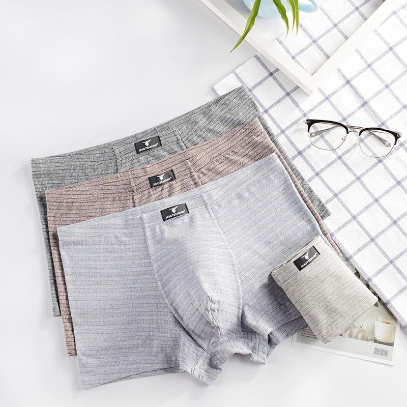 Sexy Men Boxer Jacquard Striped Soft Breathable Cotton Modal Underwear Male Comfortable Solid Panties Men Underpants Cueca Homme