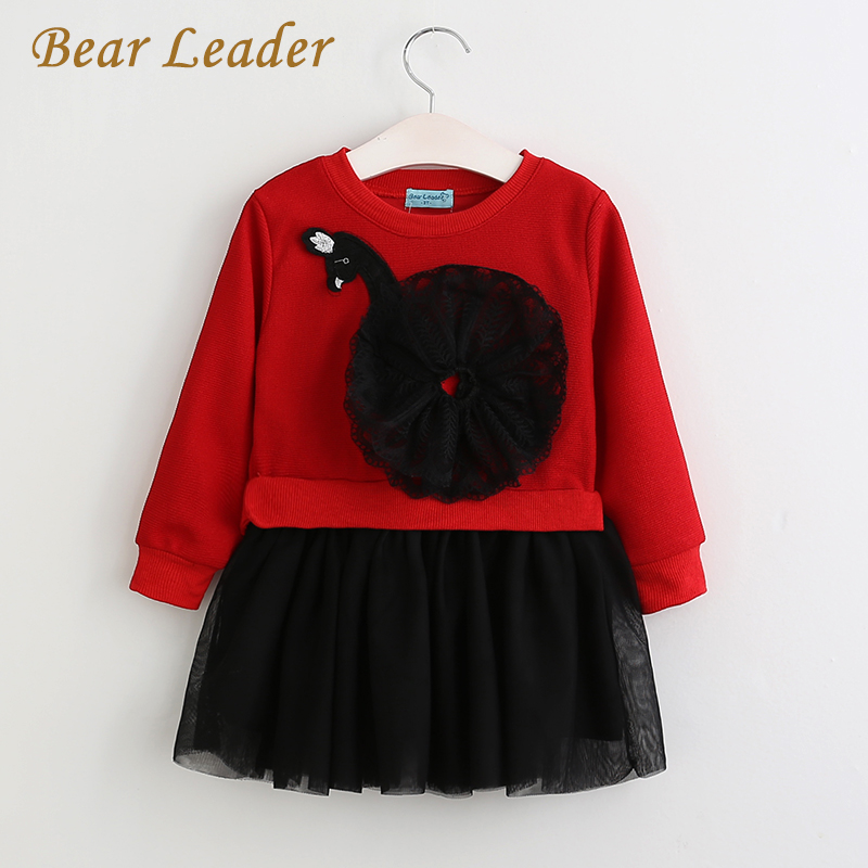 Bear Leader Girls Dress 2018 New Spring Kids Dresses Long Sleeved Cartoon Swan Lace Appliques Princess Party Dress 3-7 Years 2017 autumn new style 3 10 years girls dresses children bud silk princess dress long sleeved red christmas party dress