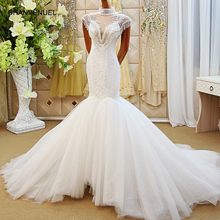 CHANVENUEL LS61278 hand mermaid wedding dress cap sleeve