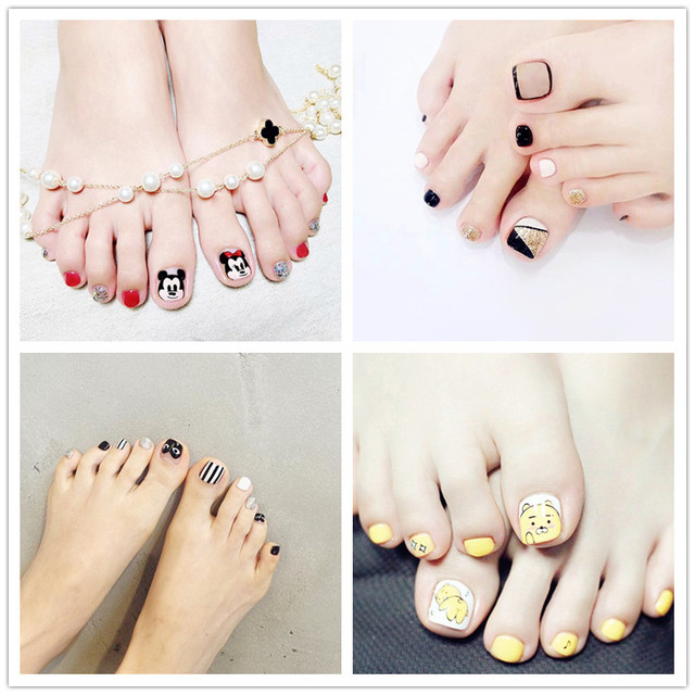 Simple Style Toenail 3pieces Full Cover Cute Pattern Short Fake ...