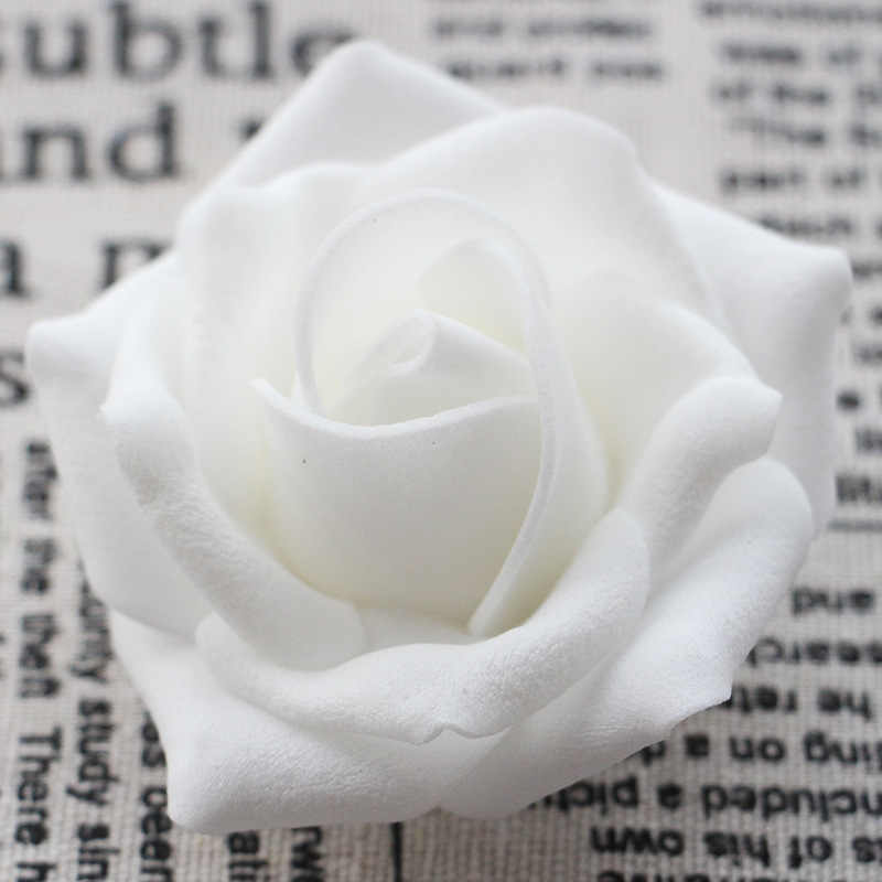 6cm Large Foam Roses Heads 100pcs Pe Artificial Roses For Crafting White Fake Flower DIY Wedding Arrangement Bouquets Real Touch