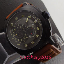 лучшая цена Luxury 44mm Parnis black dial PVD case sapphire glass miyota automatic movement Men's Watch