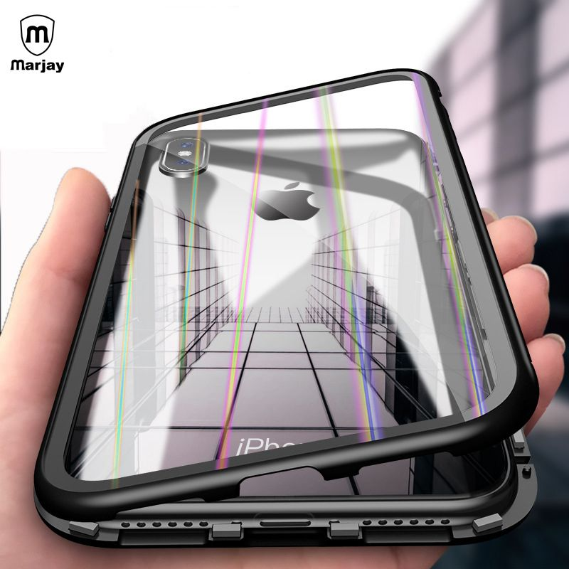 Aurora Magneto Magnetische Adsorption Glas Fall für iphone 7X8 Plus Fall Abdeckung für iphone 6 6s Plus Magnet Gehärtetem Glas Fall