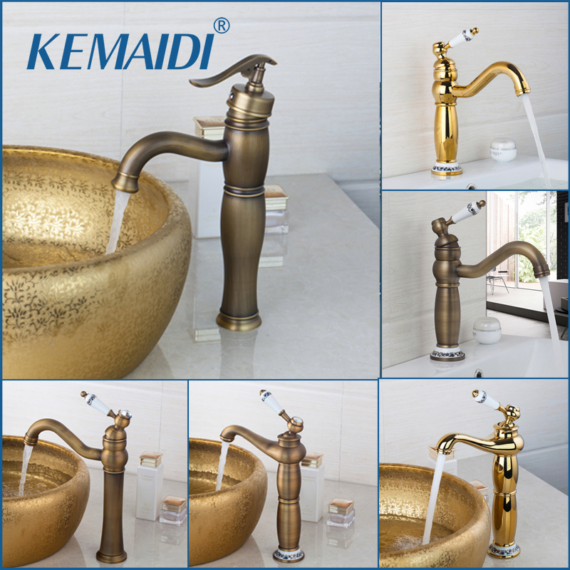 KEMAIDI Good Quality Antique Brass Bathroom Faucet Wash Basin Tap Swivel Single Handle Hot and Cold Water Mixer Taps Crane kemaidi 3 pcs antique brass