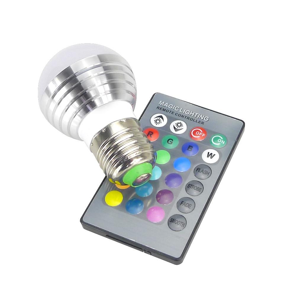 Светодиодные лампы E27 E14 AC85-265V 3 Вт <font><b>LED</b></font> изменчива Spot Blubs свет волшебного праздника <font><b>RGB</b></font> Освещение + ИК- дистанционное управление 16 Цвета
