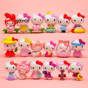 Image 2 - 18 Stks/set Cartoon Hello Kitty Zomer Stijlen Kawaii 4 ~ 4.5Cm Speelgoed Poppen Anime Pvc Action Figure Kinderen Verjaardag geschenken