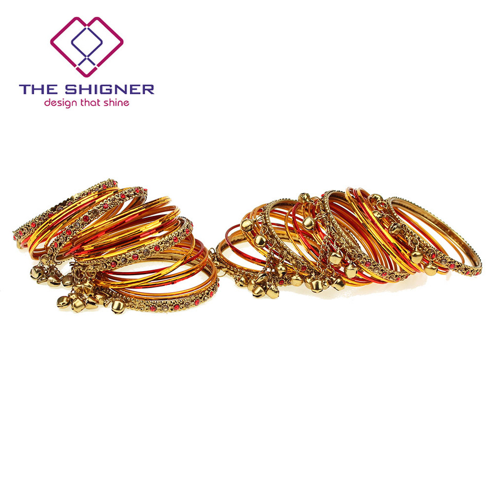 THE SHIGNER Bollywood Jewelry Golden Red Color Latkan Bell