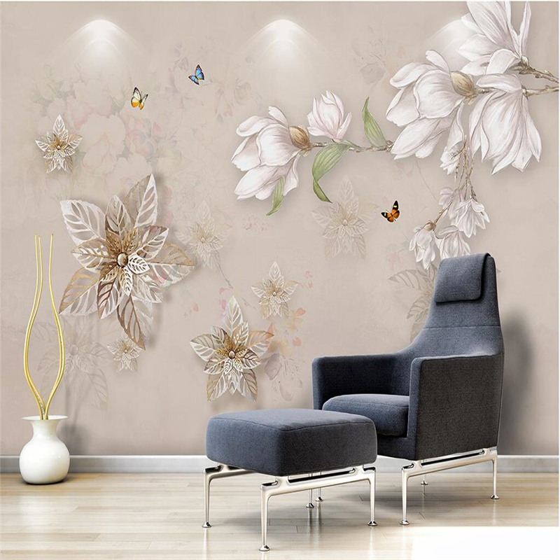 beibehang Modern simple hand painted oil painting floral European background wall custom large fresco wallpaper papel de parede