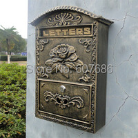 Cast Iron Flower Mailbox Embossed Trim Decor Bronze Look Free Shipping Home Garden Decorative Wall Mail