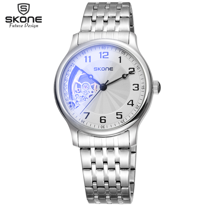 SKONE Mens Fashion Skeleton Automatic Mechanical Watches Men Top Luxury Brand Business Dress Silver Steel Watch Clock relogio mce automatic watches luxury brand mens stainless steel self wind skeleton mechanical watch fashion casual wrist watches for men