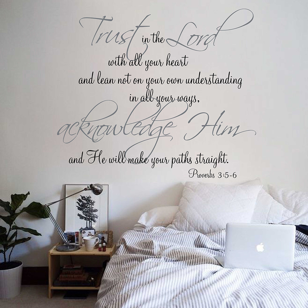 Religious quote vinyl wall decal trust in the lord with all your religious quote vinyl wall decal trust in the lord with all your heart proverbs scripture quotes wall decals window sticker 665q in wall stickers from home amipublicfo Image collections