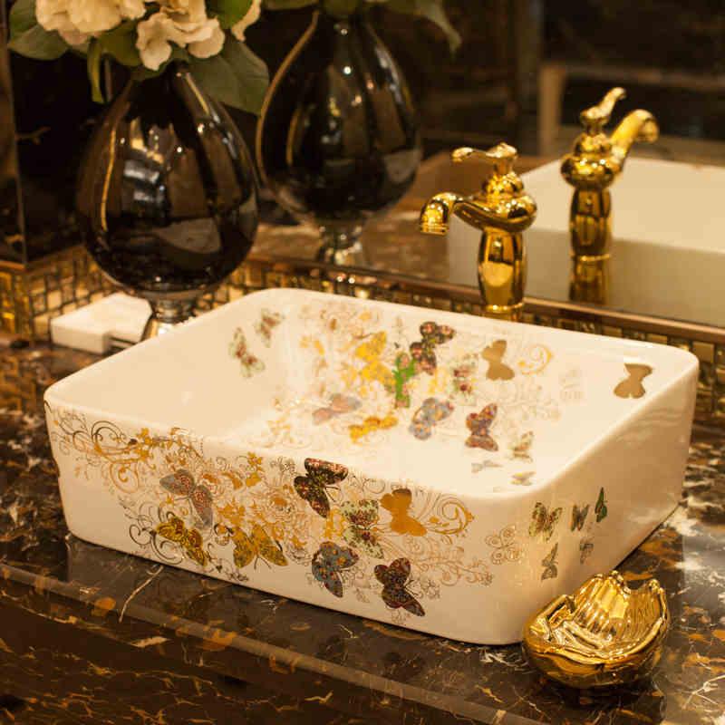 US $299.0 |Europa Vintage Style Art waschbecken badezimmer waschbecken  Arbeitsplatte schmetterling Design rechteck geformt keramik becken ...