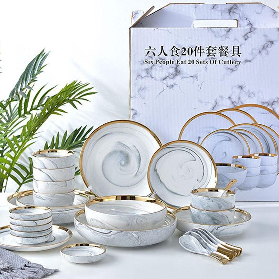 Bol à riz bol à salade nouilles | En céramique pour manger le marbre 6 personnes, vaisselle et assiettes, service de vaisselle