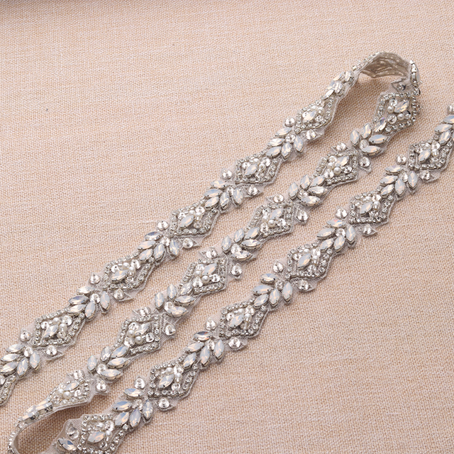 1 Yard Handmade Rhienstone Applique Crystal Silver Bridal Belt With Protein  beads Trim Iron On Wedding Dress Belt YS912 6d71c4441bb0