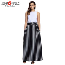 SEBOWEL 2017 Autumn Summer Women Long Skirt Chic Colorblock Striped Maxi Skirts Full-length High Waist Tie Big Hem Vintage