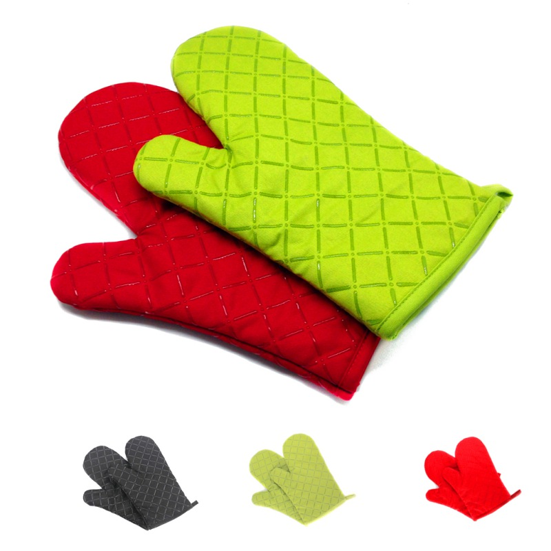11 Inch Cross Silicone Woven Cotton Lining Oven Mitts Kitchen Cooking Baking Gloves Heat Resistant Non Slip Grip Pot Holders 1Pc Oven Mitts & Oven Sleeves    - AliExpress