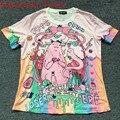 2016 Japón Kawaii Lolita camiseta Monstruo Unicornio Harajuku La Tendencia de La Moda Tee Camiseta Adorable Camisa Animado Feminina