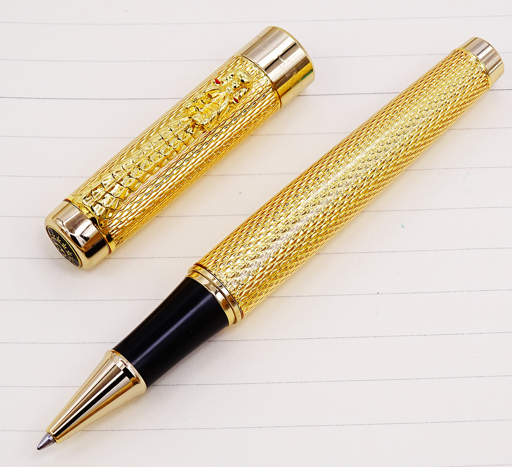 Jinhao 1200 Vintage Luxurious Rollerball Pen Beautiful Ripple with Dragon Clip, Noble Golden Metal Carving Ink Pens Collection