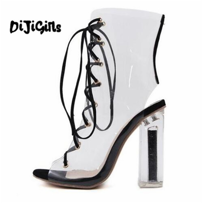 2018 New spring women Pumps Peep toe high heels shoes Square heel Ankle Cross Stap Sexy transparent PVC boots woman hihopgirls 2018 new spring women pumps peep toe high heels shoes square heel ankle cross stap sexy transparent pvc boots woman
