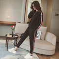 2016 female autumn tide black loose sets of sweater + fashion stripe leisure suit