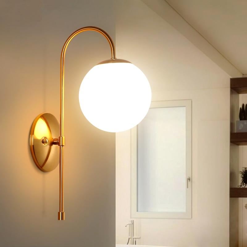 Nordic простой пост-Современные Стеклянные Настенные светильники гостиная, спальня ресторан проход Творческий настенные светильники