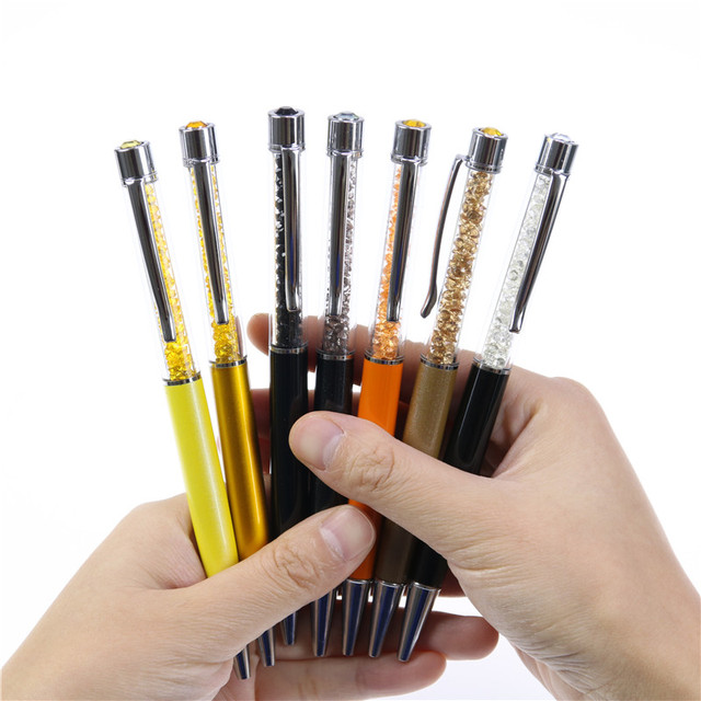 1 Unids Bolígrafos Papelería Bolígrafo Creativo de la Pluma de Cristal de Diamante Stylus Pen 7 Colores Grasa de Relleno Negro 0.7mm