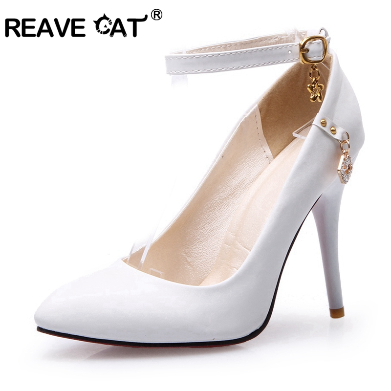 657b8117182f REAVE CAT 2019 New Spring summer Shoes woman High heel Ladies pumps Buckle  Rhinestone Glitter Pointed toe Big size 32-48 A1898