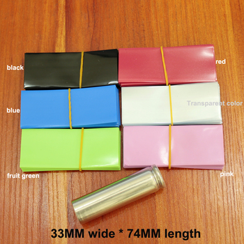 100pcs Lithium Battery PVC Heat Shrink Tubing Film 18650 Skin Sleeves 33MM Wide