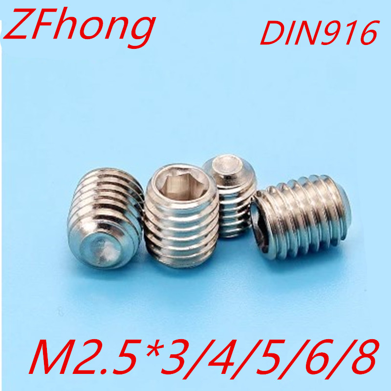 50PCS M2.5*3/4/5/6/8 DIN916 Stainless Steel Allen Head cup point Hex Socket Set Screw Grub Screw m4 m4 10 m4x10 m4 16 m4x16 316 stainless steel 316ss din916 inner hex hexagon socket allen head grub cup point set screw