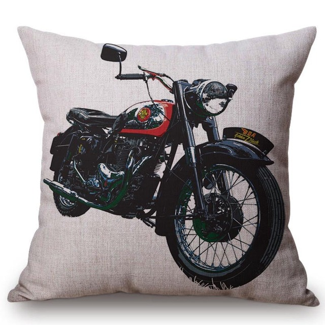 Vintage Retro Motorcycle Printed Cushion Cover