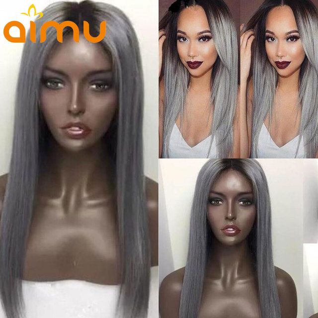 4897ce86767 Aimu 1B Black Roots Silver Grey Lace Front Human Hair Wigs Pre Plucked Ombre  150% Straight Remy Brazilian Colored Wigs For Women
