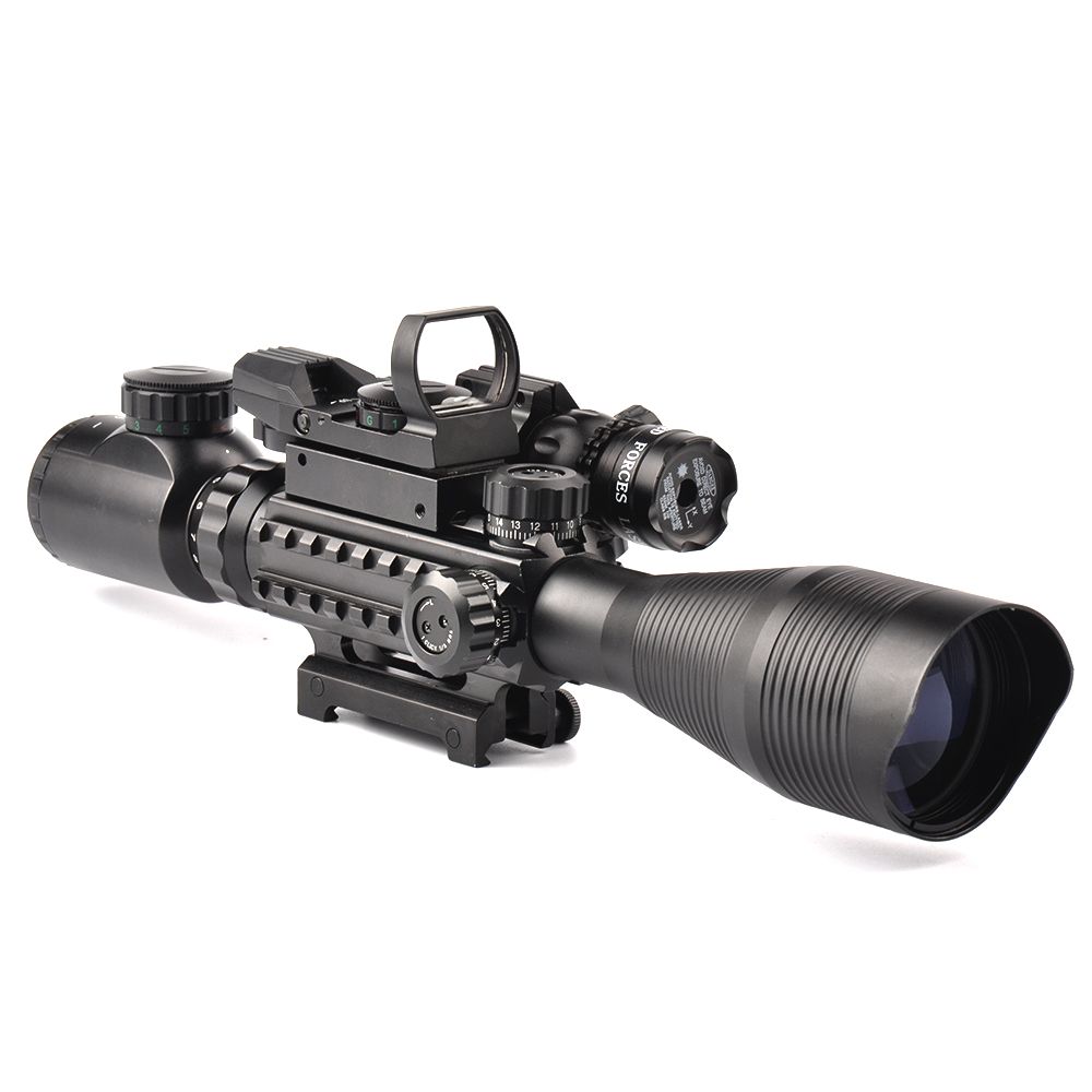 Tactical 4-12X50EG Rifle Scope with Holographic Dual Illuminated Dot Sight and Red/Green Laser Combo for Rifle Airsoft Gun Sight 3 10x42 red laser m9b tactical rifle scope red green mil dot reticle with side mounted red laser guaranteed 100%