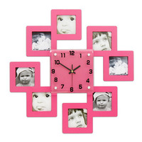 Wooden Photo Frame Wall Clock for Baby Room JJT M1001 47*47Cm