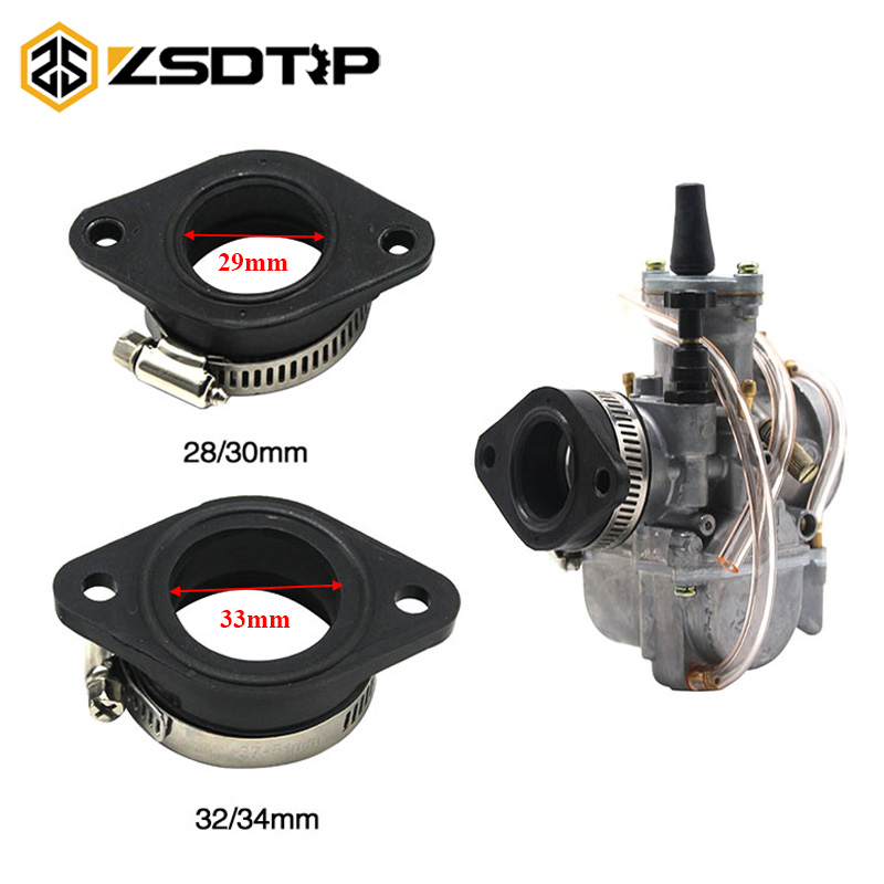 ZSDTRP Motorcycle Carburetor Adapter Inlet Intake Pipe Rubber Mat Fit On PWK 28/30mm 32/34mm Carburetor  UTV ATV Pit Dirt Bike