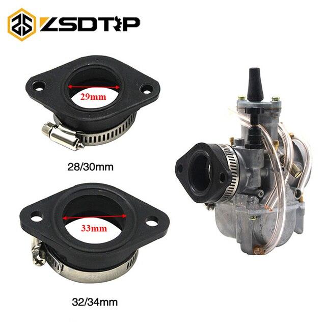 Adaptador de carburador de motocicleta ZSDTRP tubo de entrada estera de goma ajuste en PWK 28/30mm 32/34mm carburador UTV ATV Pit de la bici de la suciedad